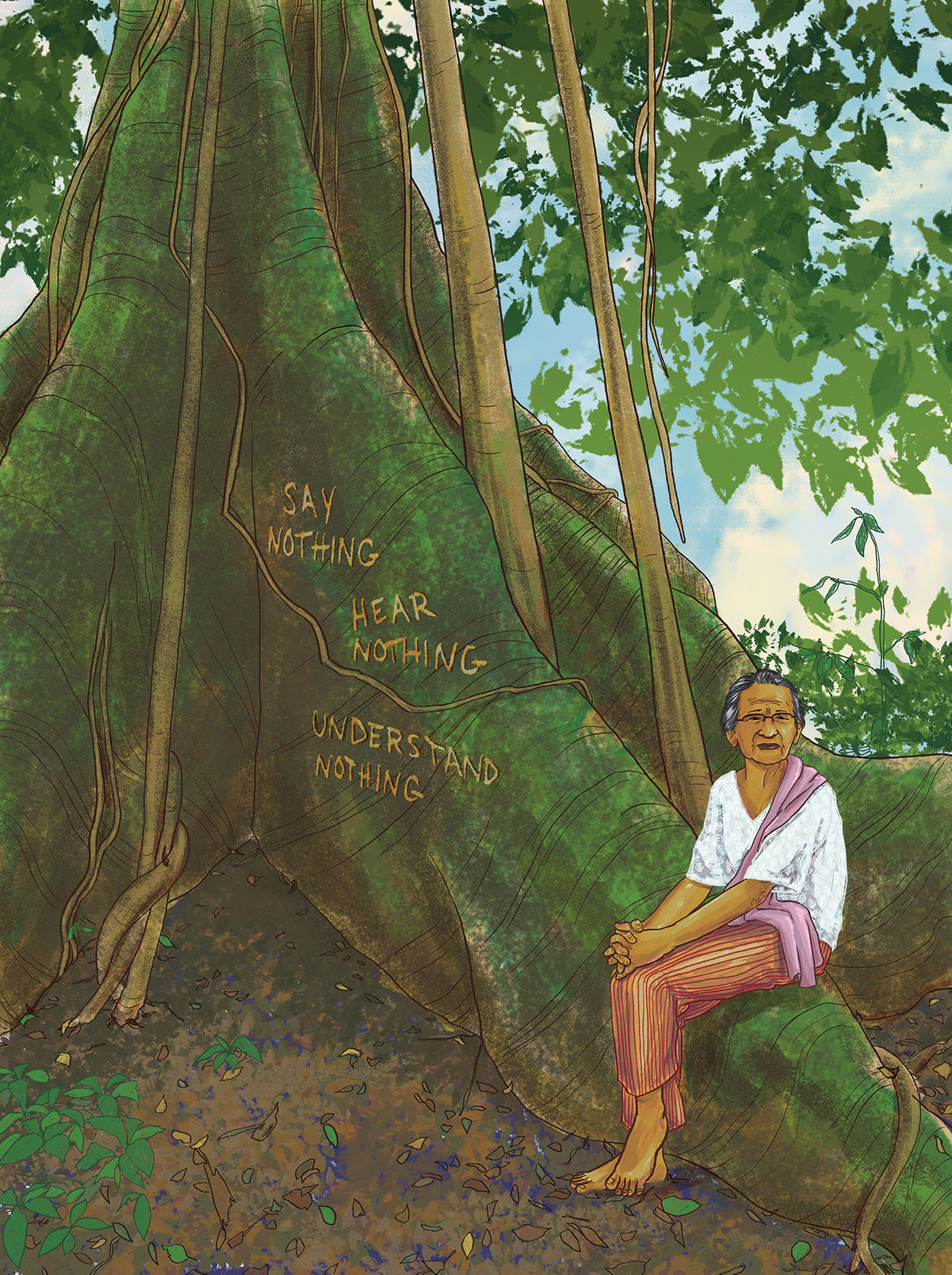illustration shows woman sitting on the roots of a moss-covered tree. The bark on the base of the tree has been carved. It says, Say Nothing, Hear Nothing, Understand Nothing.