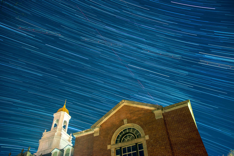 timelapse of Wilbur Cross building at night