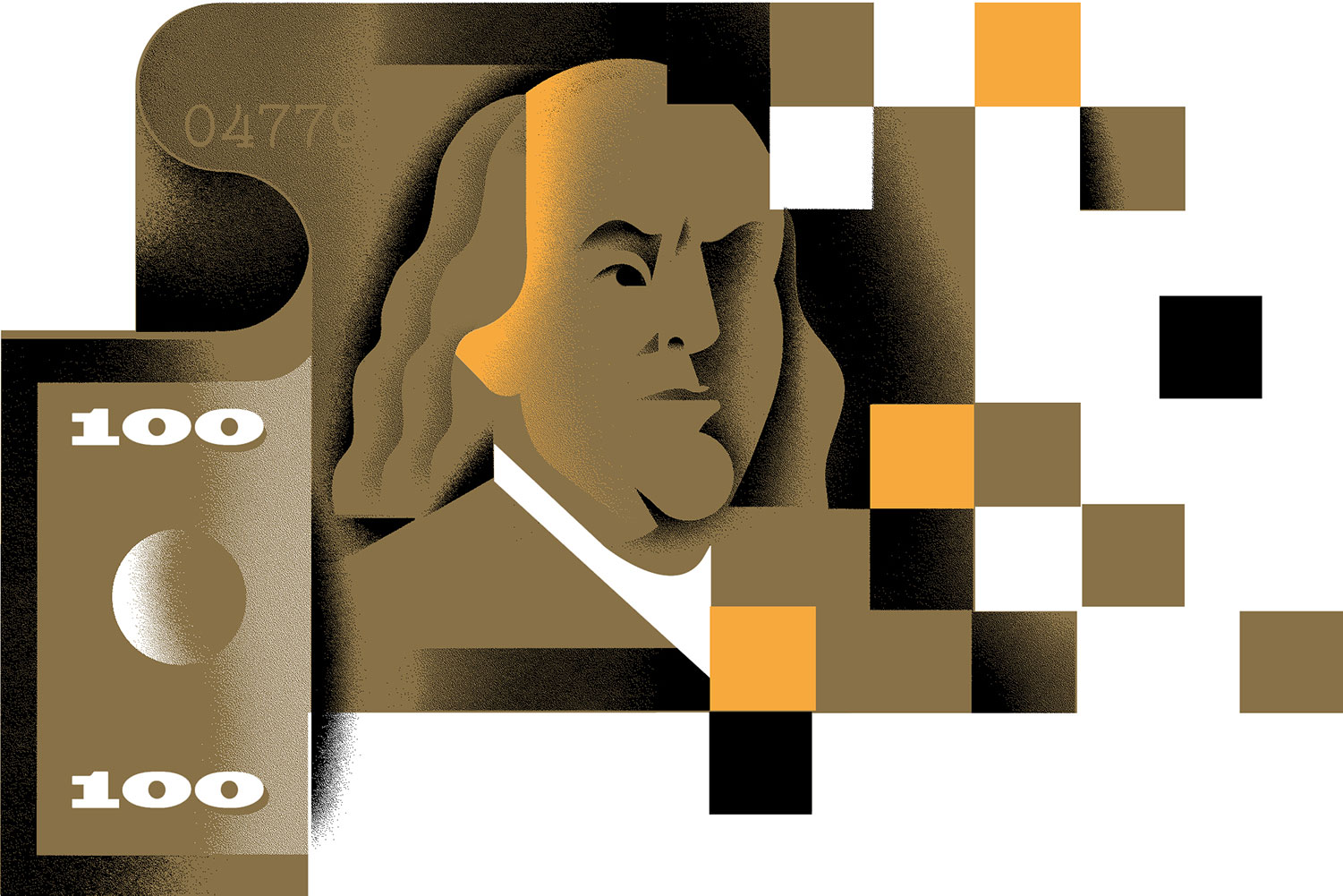 Benjamin Franklin on a stylised illustration of a dollar bill morphing into a credit card then pixelized data