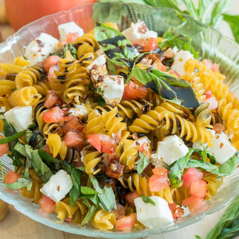 Chickpea rotini pasta salad