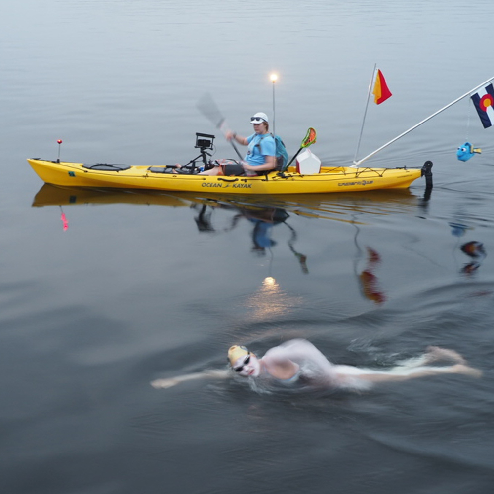 Sarah Thomas, covered in heavy-duty sunscreen, during her world-record–breaking marathon swim across Lake Champlain.