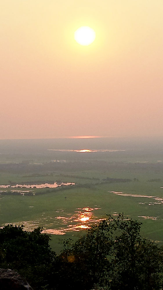 Sunset overlooking the Tonle Sap lake and rice fields