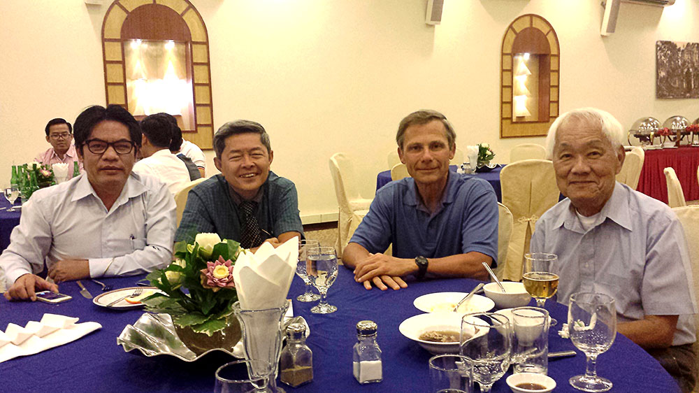 Pharmacy professor Thomas Buckley (second from right) at a medical conference in Siem Reap, the 2nd largest city in Cambodia (at about 1 million residents), with the top diabetes experts in Cambodia: from left — Dr. Keth Vuthy, Dr. Seng Seray, and Dr. Lim Keuky.