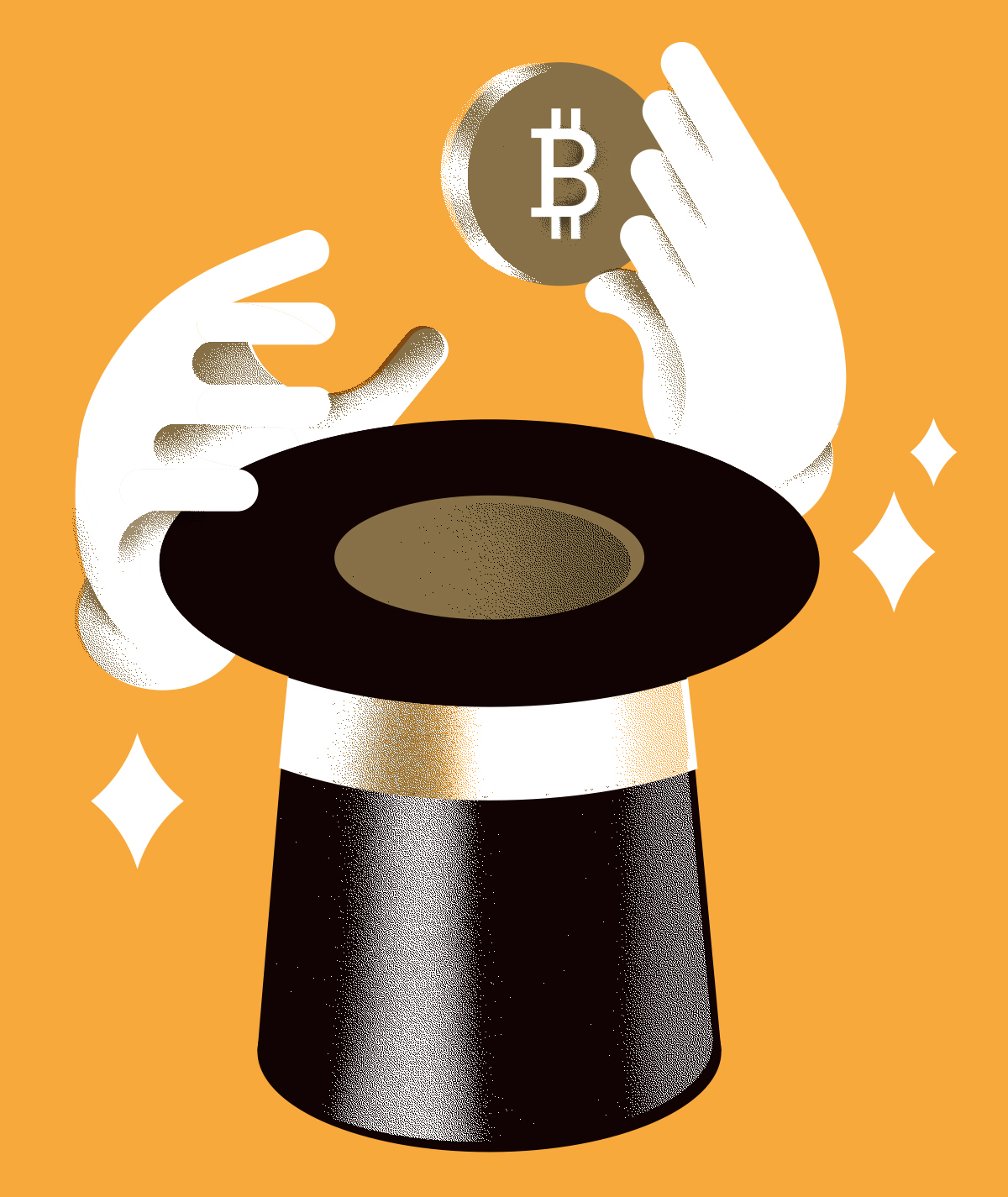 illustration: magician hands pull a bitcoin from a hat