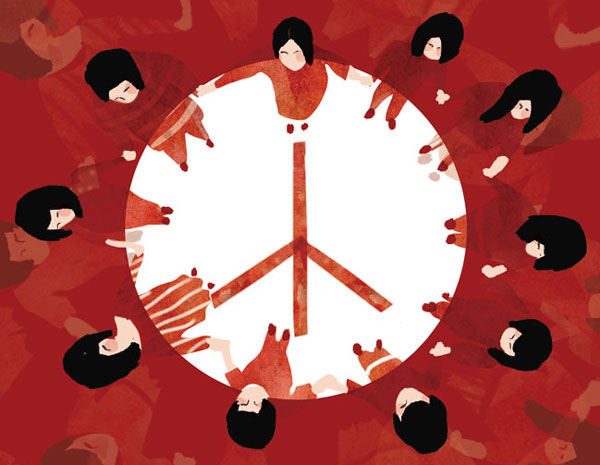 Illustrated peace sign with people on the edges holding hands