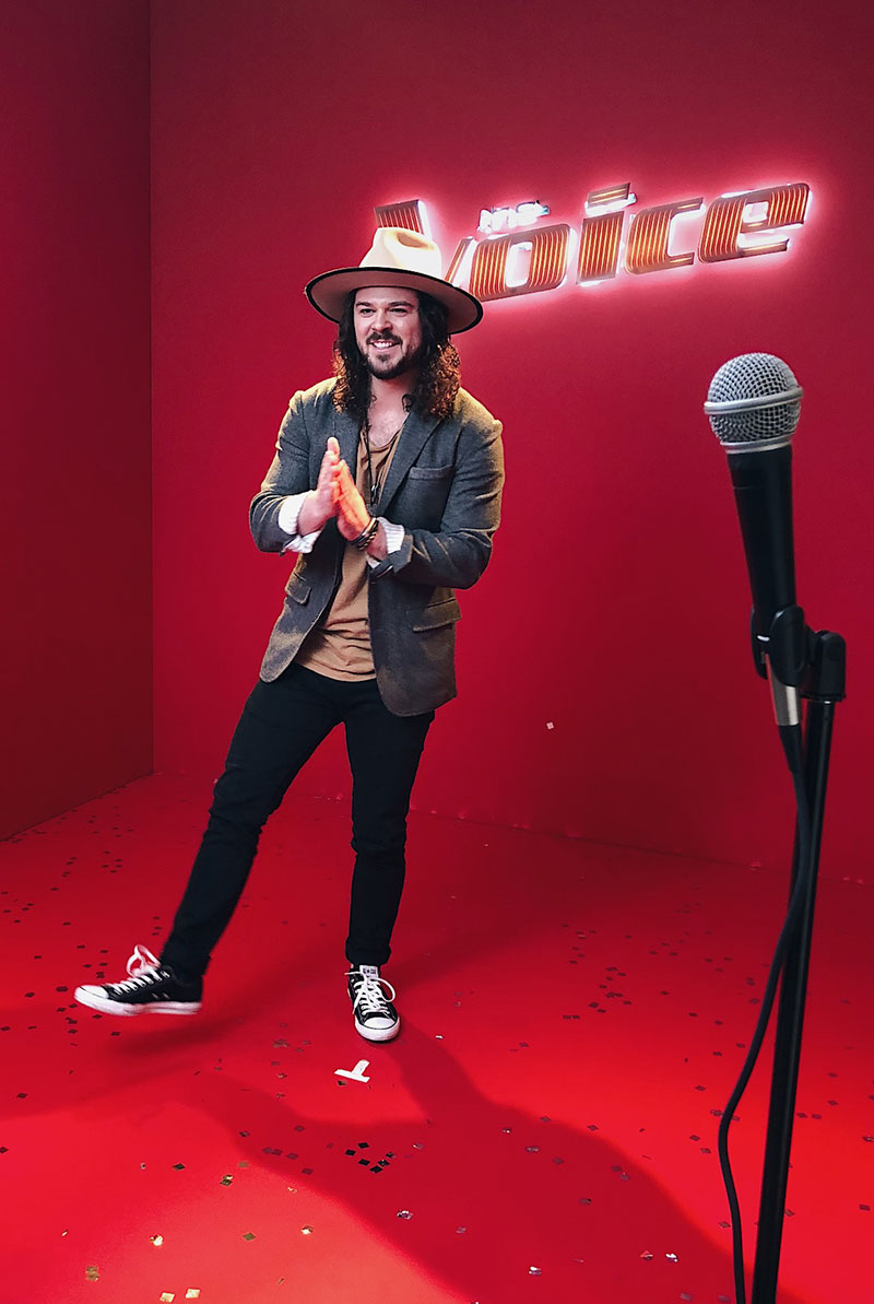 "Drew cole '14 (CLAs) on the set of ""The voice"""