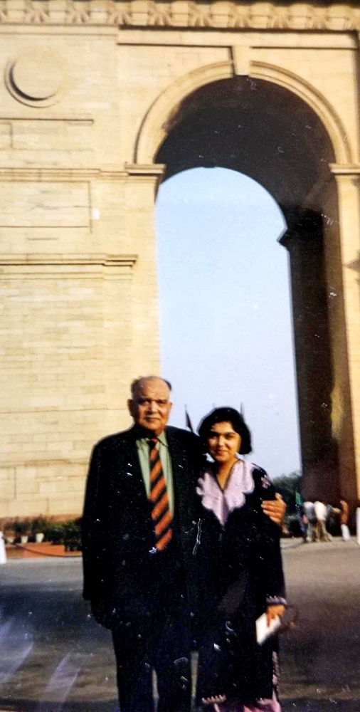 Srinivas and Manisha at India Gate in New Delhi, around 1987