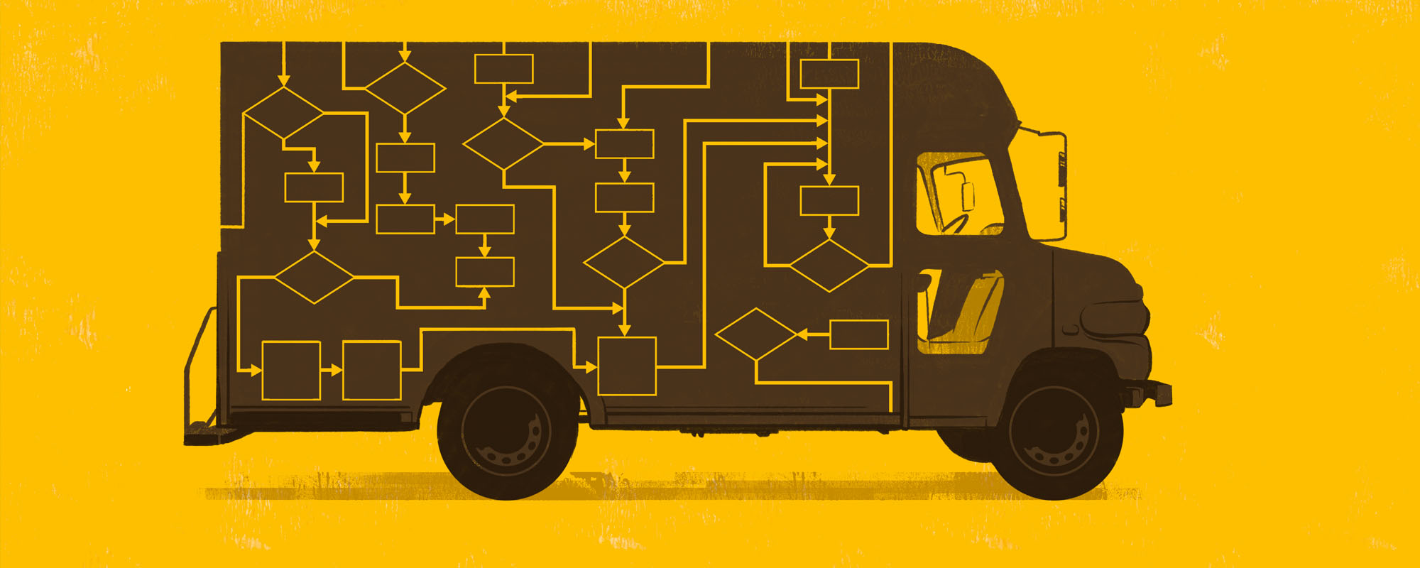 Illustration of a truck with paths
