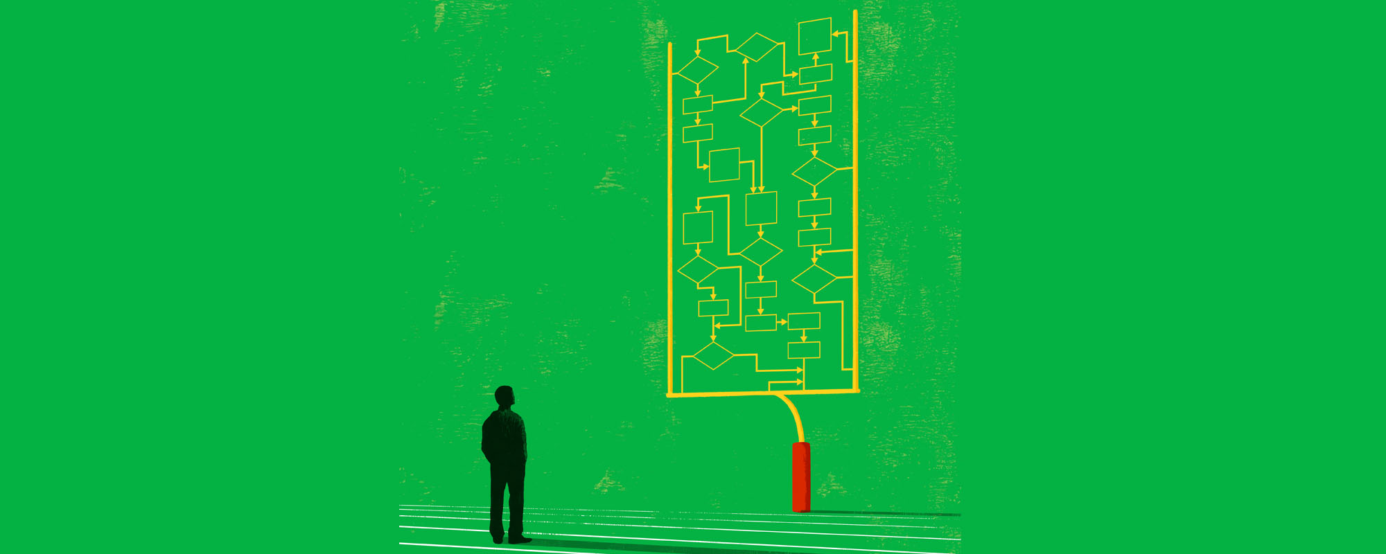 Illustration of a man looking at a football goal post