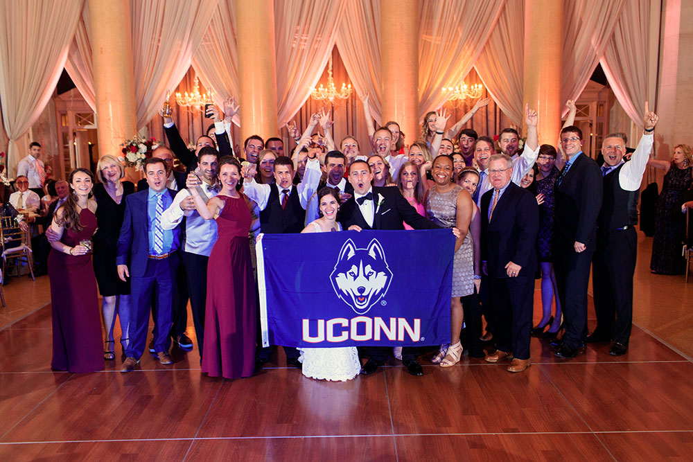 Marissa Seagrave '14 MFA and John Seagrave '12 MS with their UConn peeps in Saratoga Springs, New York