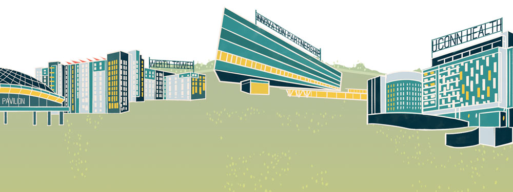 Illustrated UConn skyline by Kailey Whitman