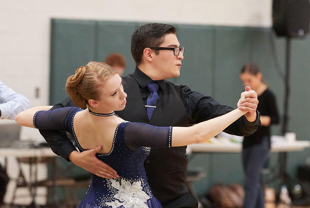 partners and UConn Ballroom student club members, dance