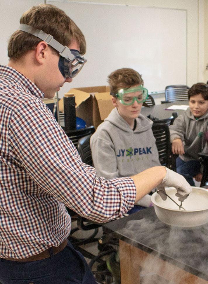 students practice chemistry