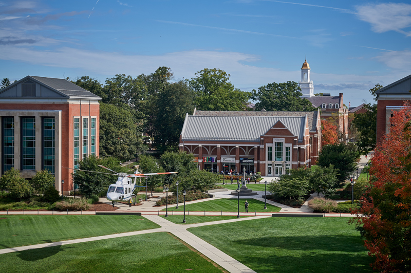Rotary Club Black Hawk Helicopter over Campus