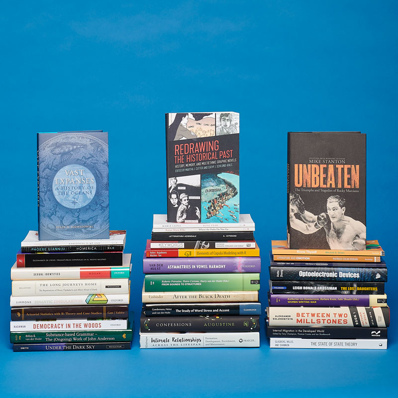 A still life of books by CLAS faculty published in 2018