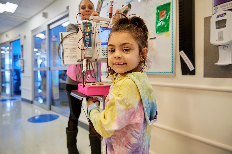 Daniella Ciriello, 6, receives a blood transfusion at Connecticut Childrens Medical Center (CCMC) in Hartford on April 4, 2019.