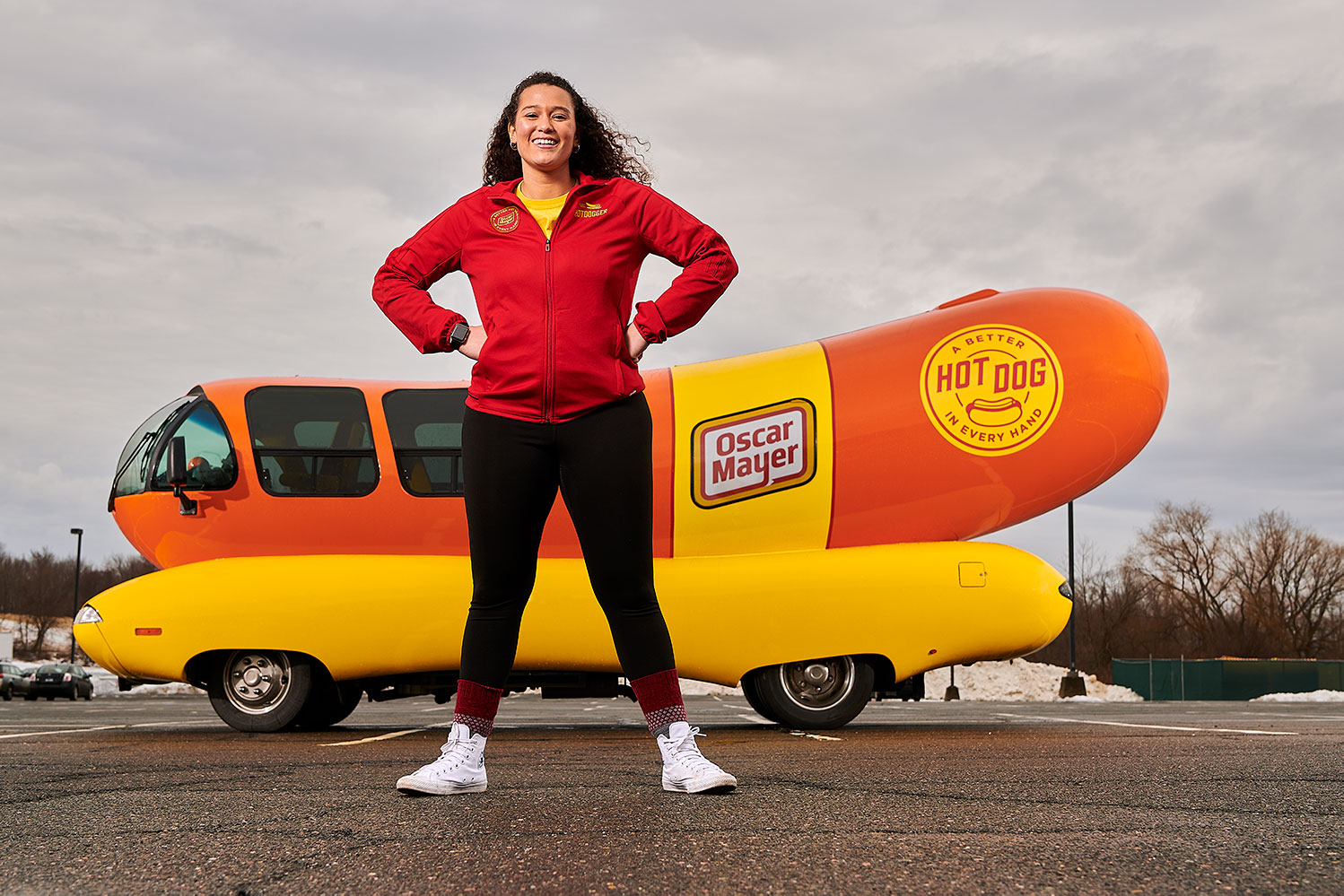 Gabriella Medvick in front of the wiener mobile