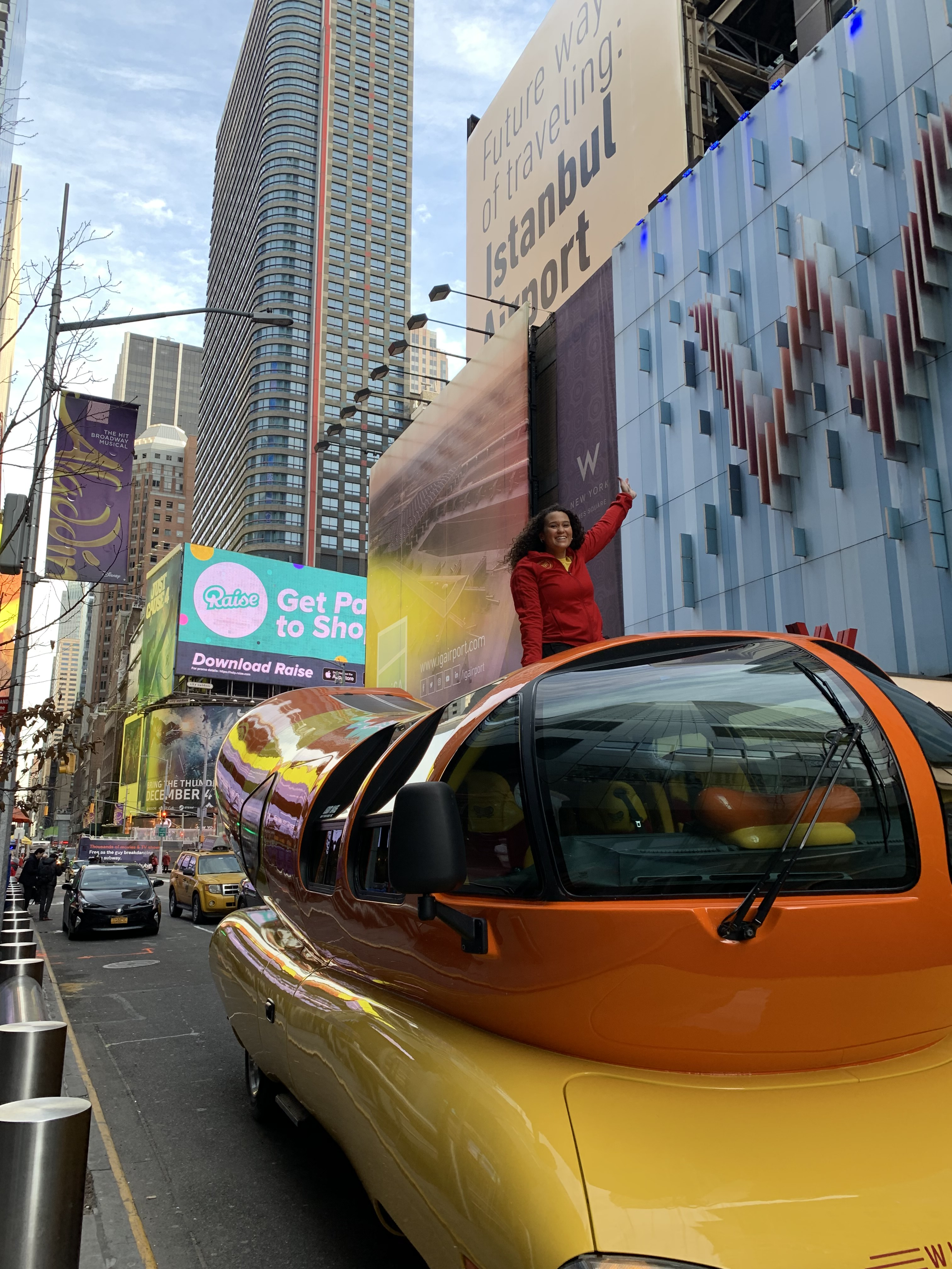 the wierner mobile drives through the big apple