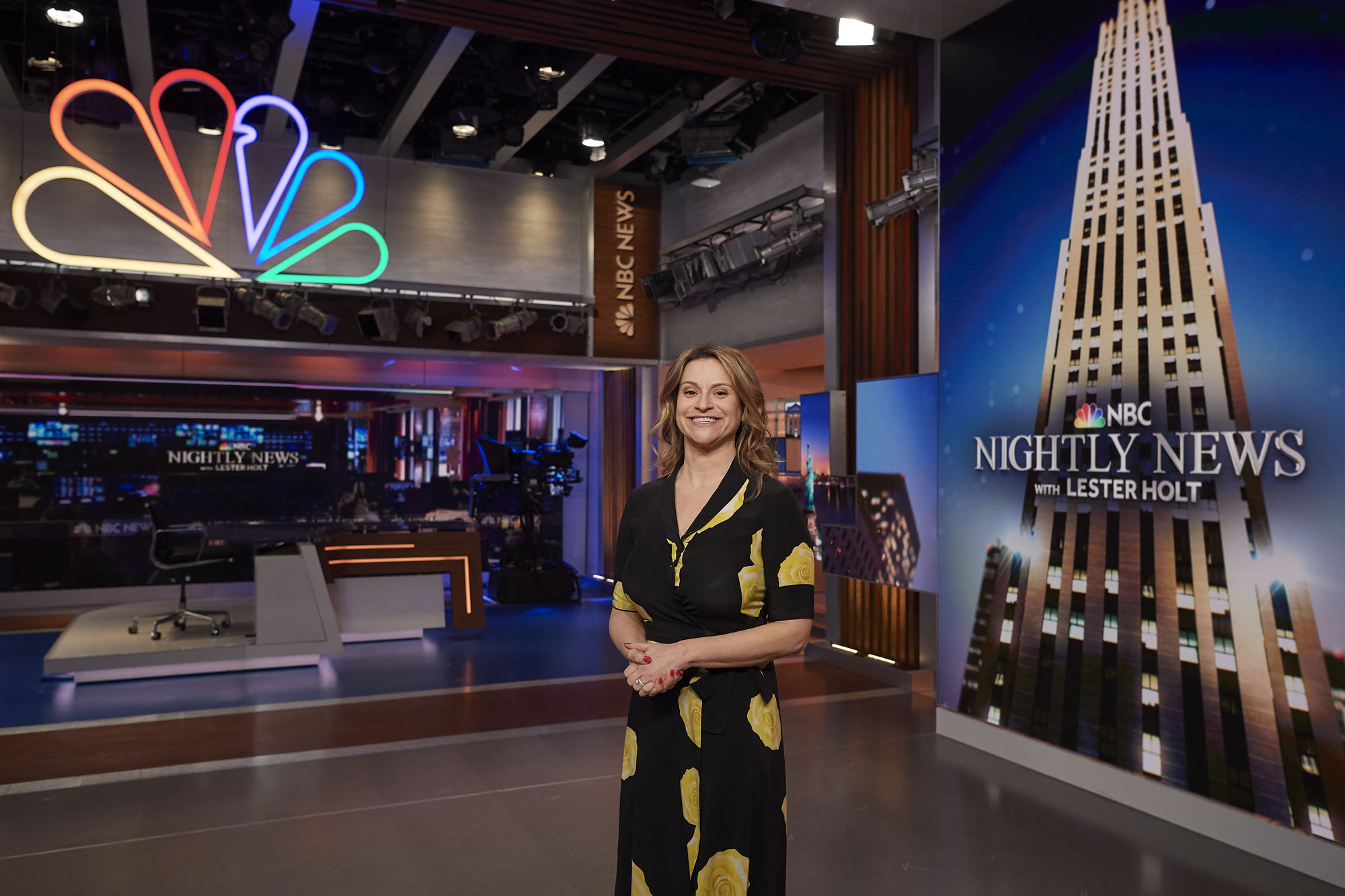 Jenn Suozzo '99 (CLAS) on the set of the NBC Nightly News at Rockefeller Center in Manhattan