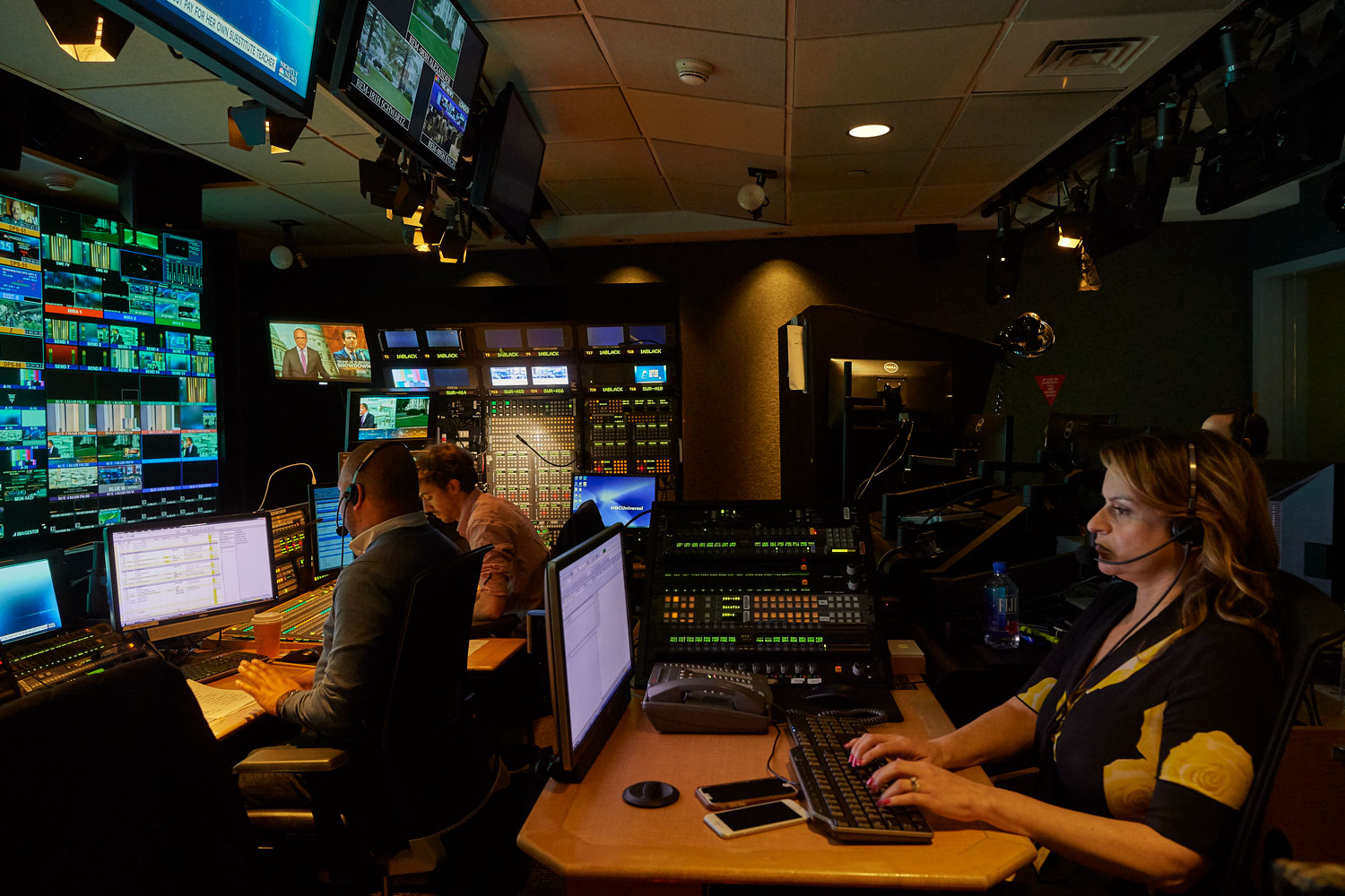 Jenn Suozzo '99 (CLAS) in the control room of the NBC Nightly News at Rockefeller Center in Manhattan