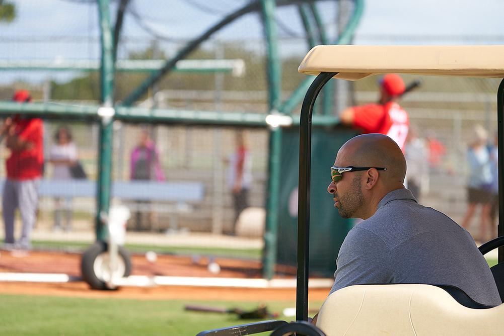 Moises Rodriquez in golf cart