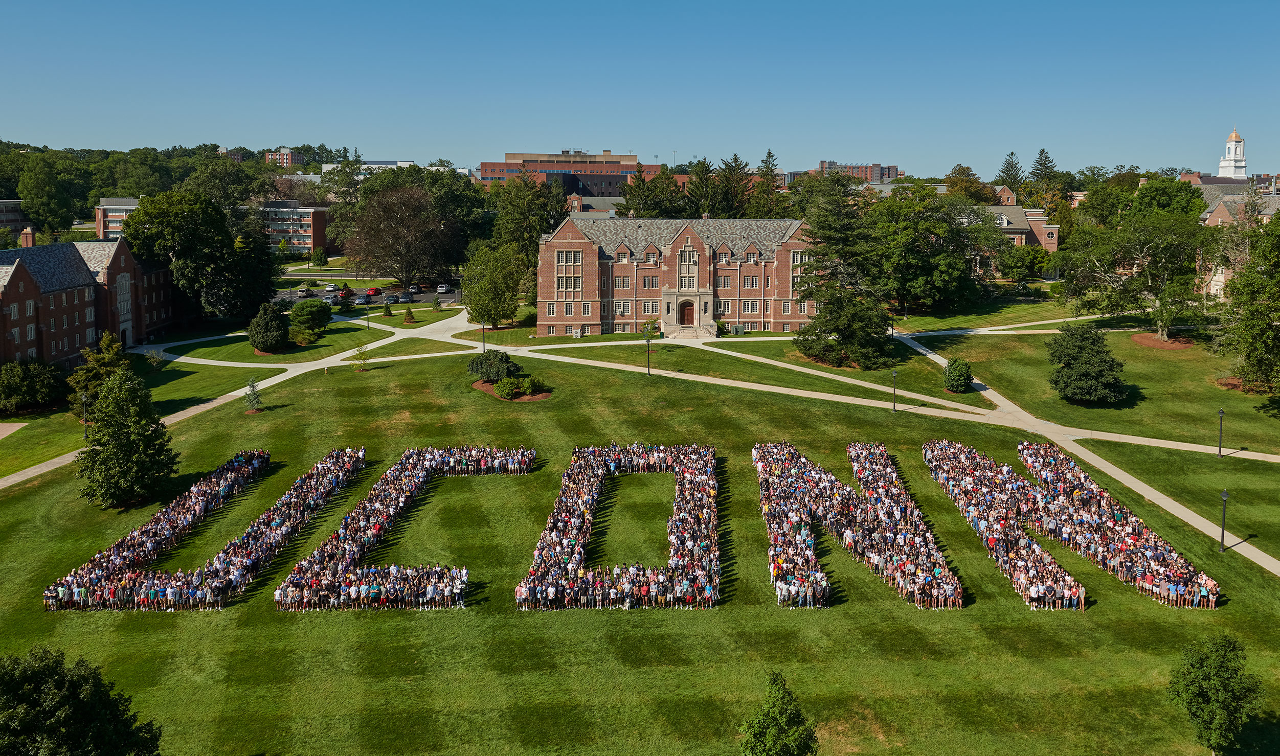 the class of 2023 creating 2030 on the great lawn, storrs CT