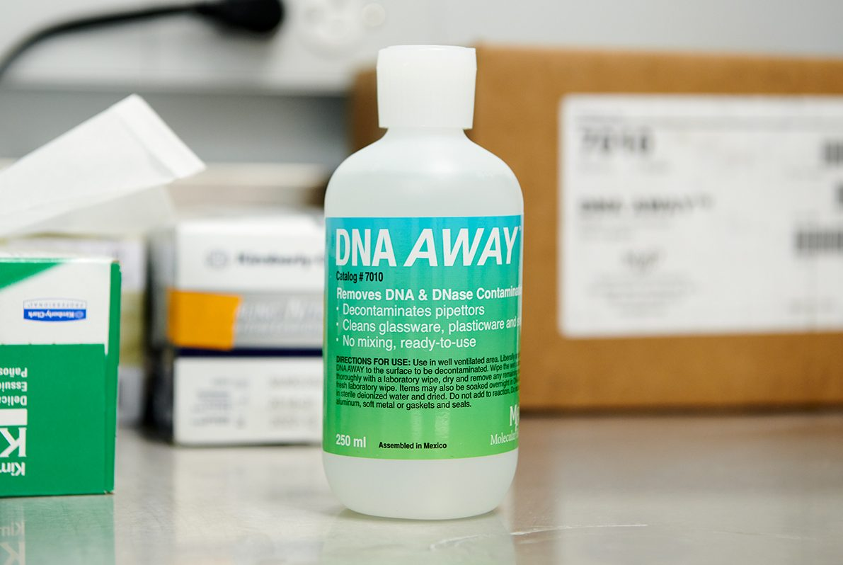 bottle of solution titled DNA Away