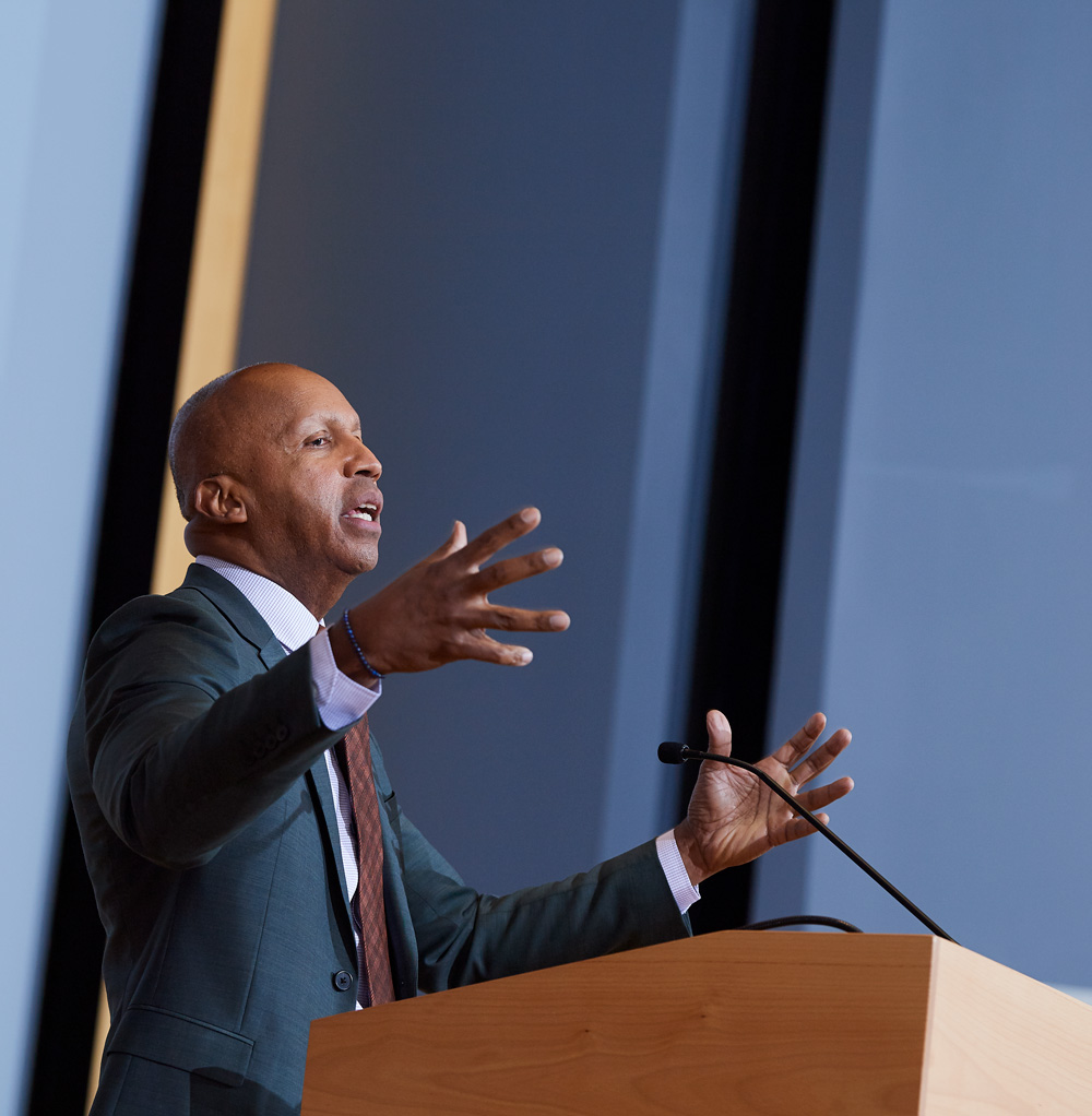 Bryan Stevenson, founder of the Equal Justice Initiative, the recipient of the 2019 Thomas J. Dodd Prize, speaks at Starr Hall at UConn Law School in Hartford on Nov. 7, 2019.