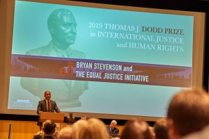 Bryan Stevenson, speaks during the 2019 Thomas J. Dodd Prize ceremony at the Student Union Theater on Nov. 7, 2019.