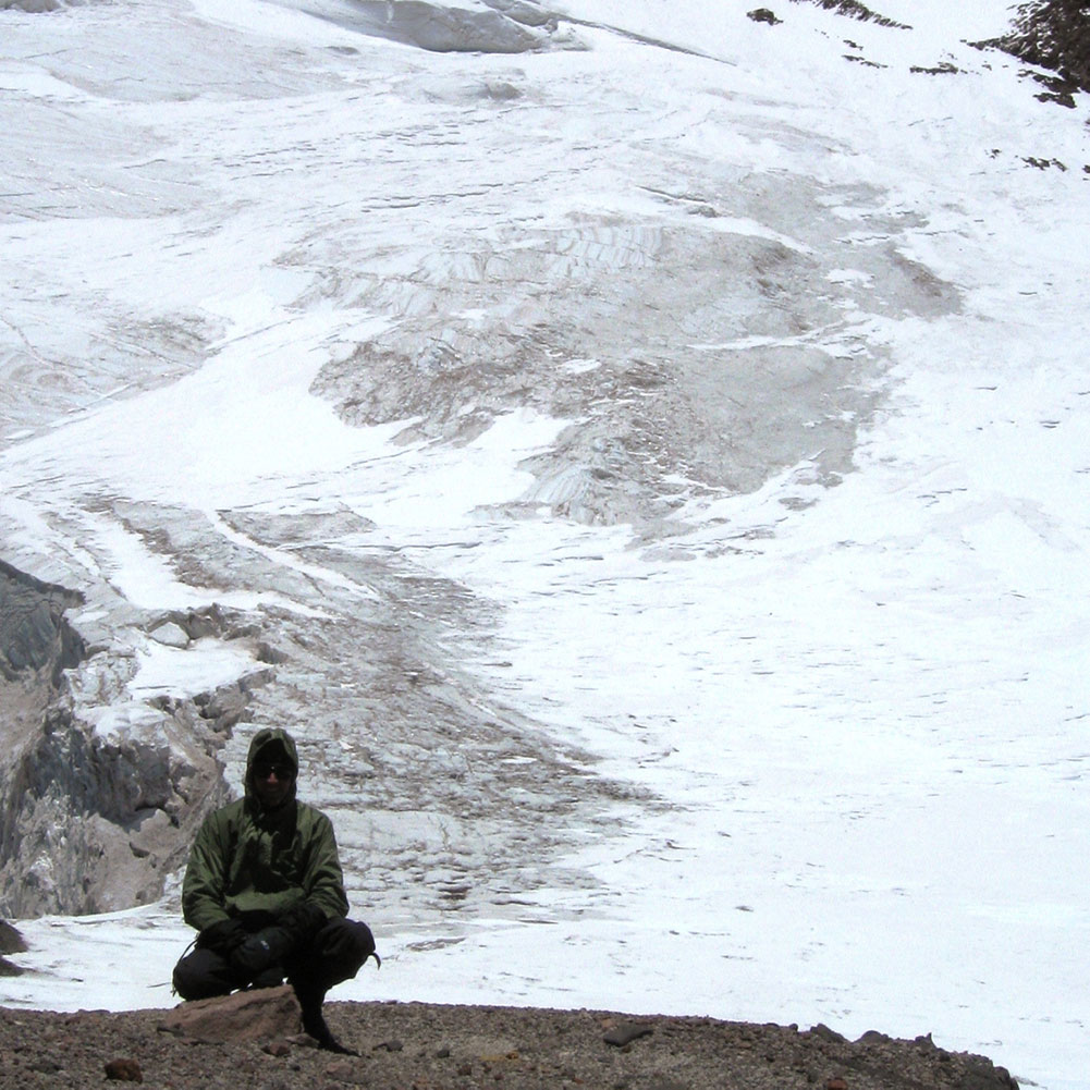 Mark in front of Polish Glacier on Aconcagua