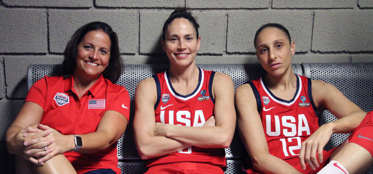 Jennifer Rizzotti, Sue Bird, and Diana Taurasi