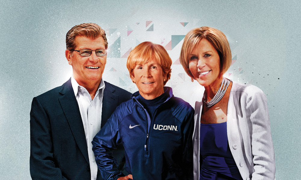 Geno Auriemma, Nancy Stevens, and Chris Dailey