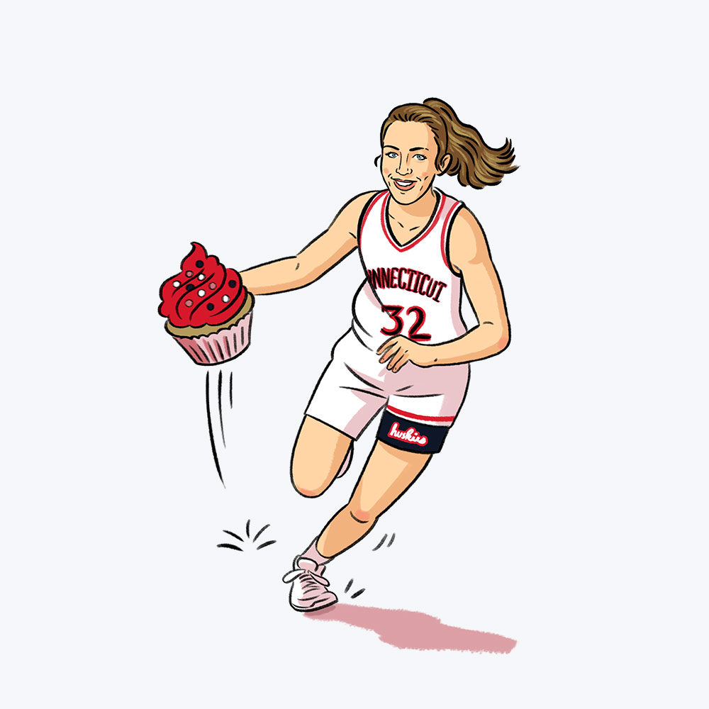 illustration of Courtney Gaine '00 (CAHNR), '05 Ph.D holding a cupcake like a basketball