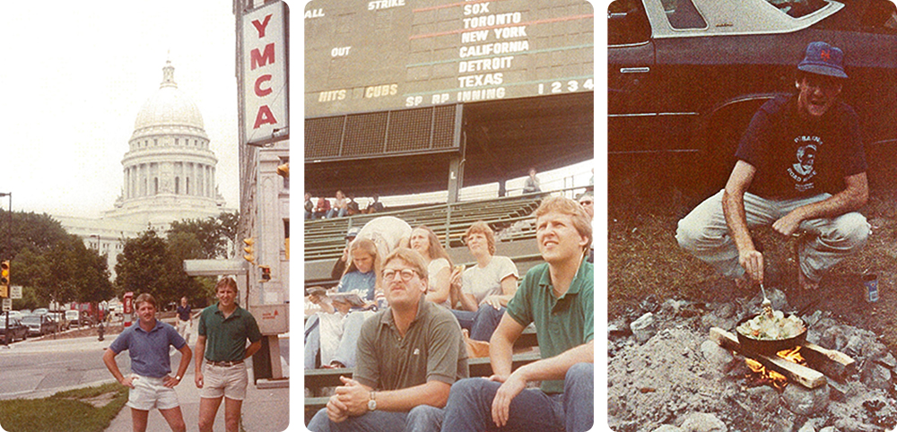 Andy Young '80 (CLAS) remembers his pal Jeff Huot '81 (BUS) - photos in front of the Wisconsin State capitol, at a cookout and in Wrigley Feild (Chicago) 1982