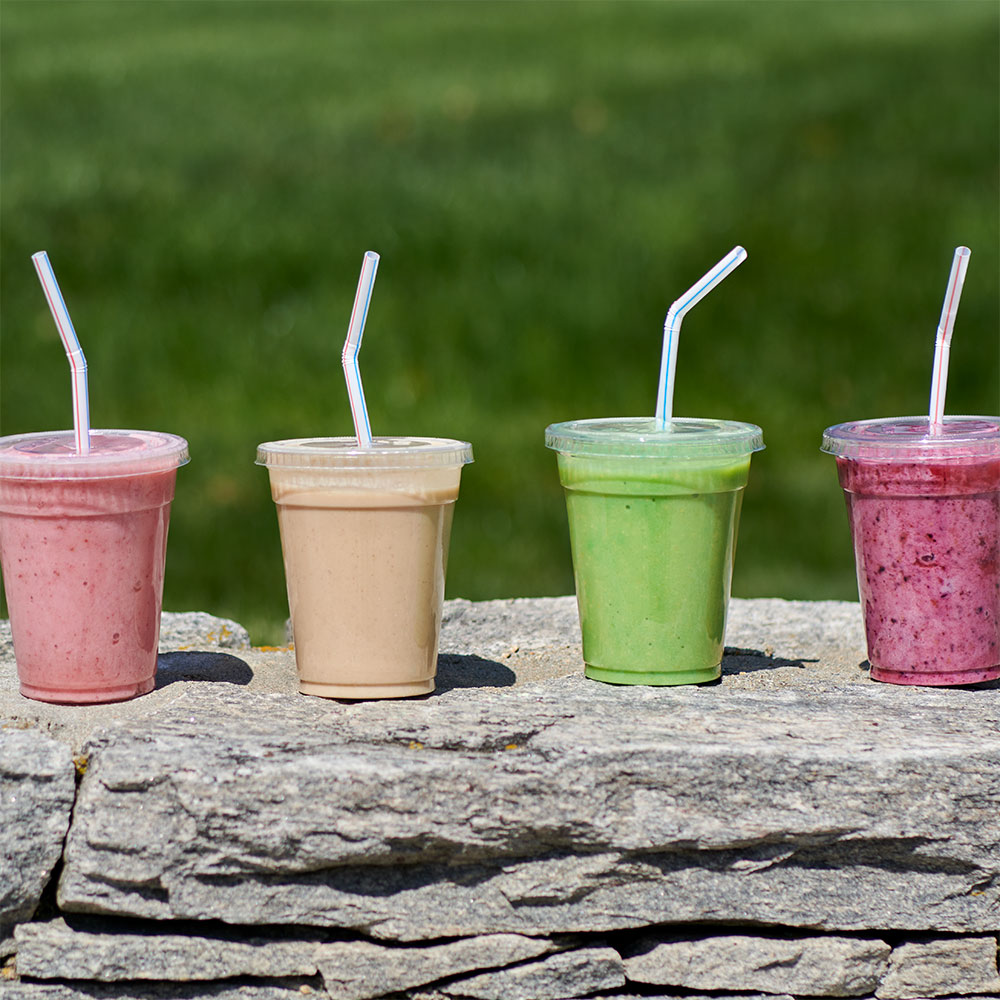 tasty UConn Dining Services smoothies all lined up in a row