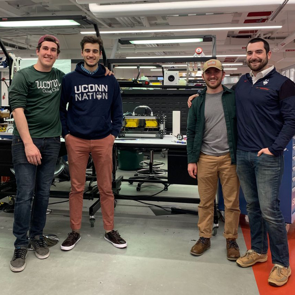 From left, Justin Schroeder '20 (ENG), Noah Pacik-Nelson '20 (ENG), Matt Grasso '19 (ENG), and Mark Waldner '19 (CLAS) worked to design and create an emergency ventilator.
