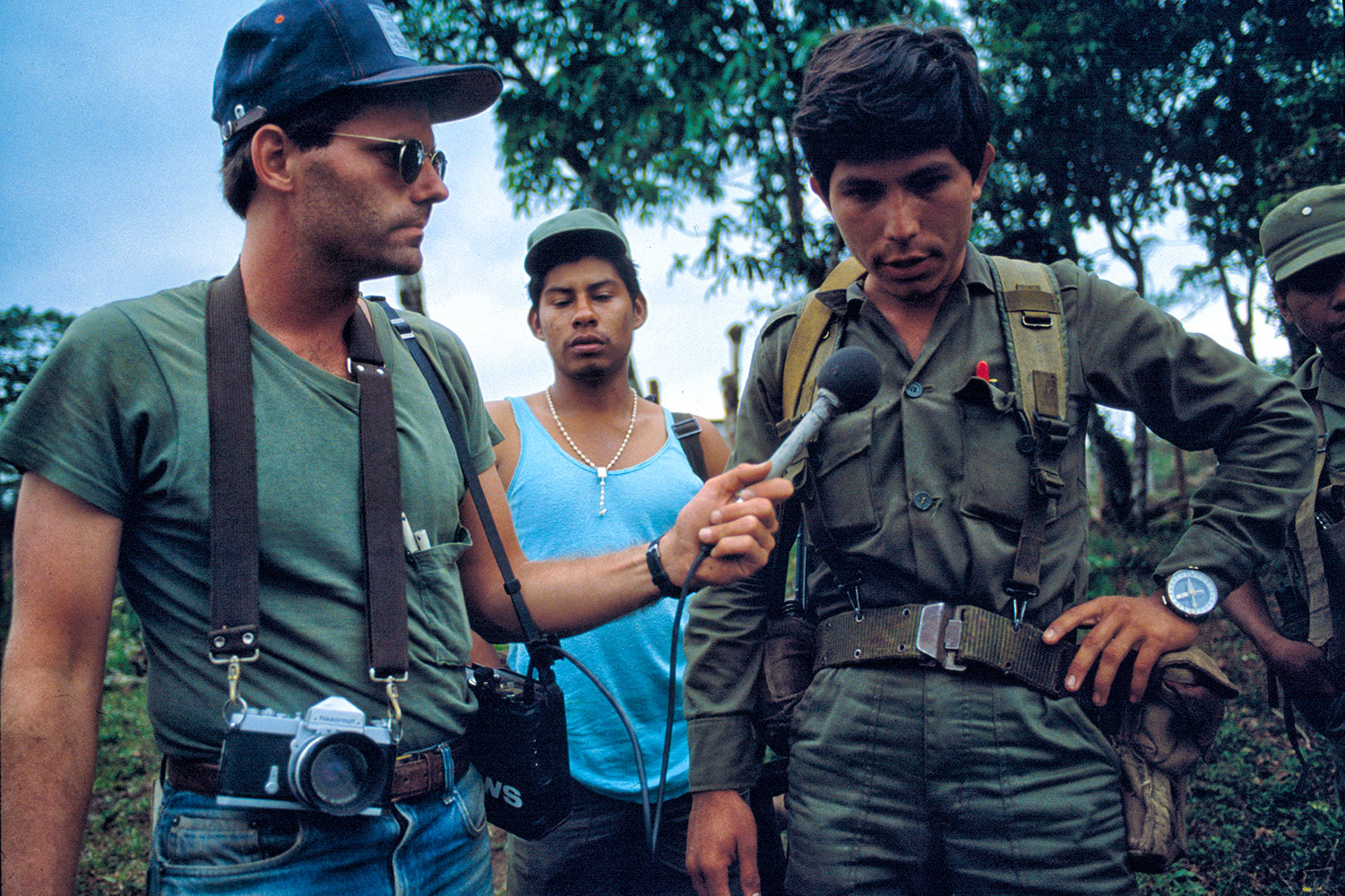 Scott Wallace interviewing an officer from the Sandinista Popular Army in Nueva Segovia, Nicaragua, 1984.
