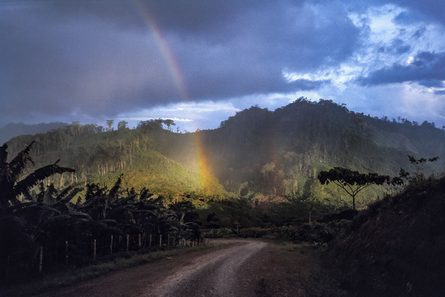 A double rainbow on the road to Nicaragua's remote Atlantic Coast, 1986.
