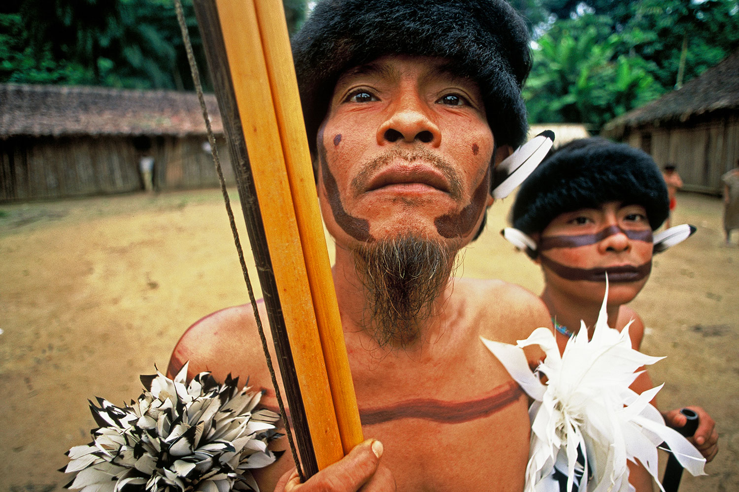 Yanomami father and son in the Orinoco River Valley, Venezuela, 2001.