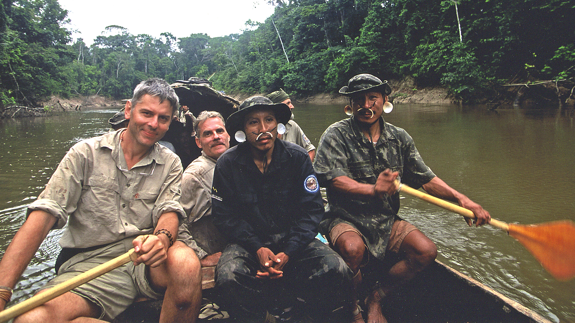 Nicolas Reynard, Scott Wallace, and Matis indigenous scouts, Javari Valley Indigenous Territory, Brazil 2002.