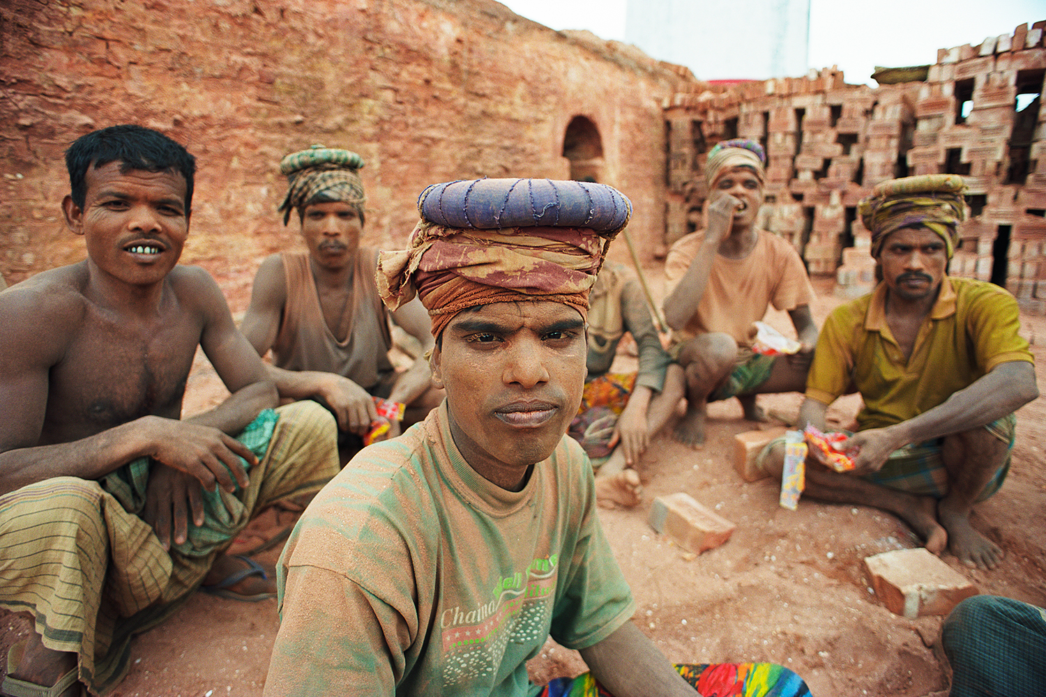 Brick kiln workers in Dhaka, Bangladesh, 2004.
