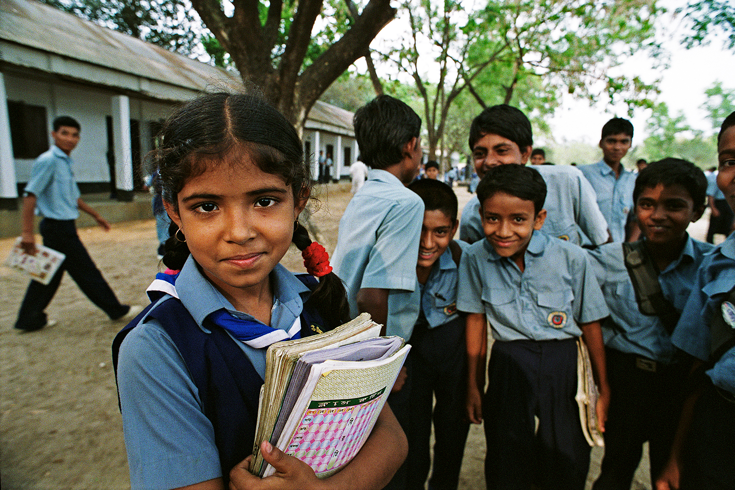 Schoolgirl teased by classmates in Gazipur, Bangladesh, 2004.