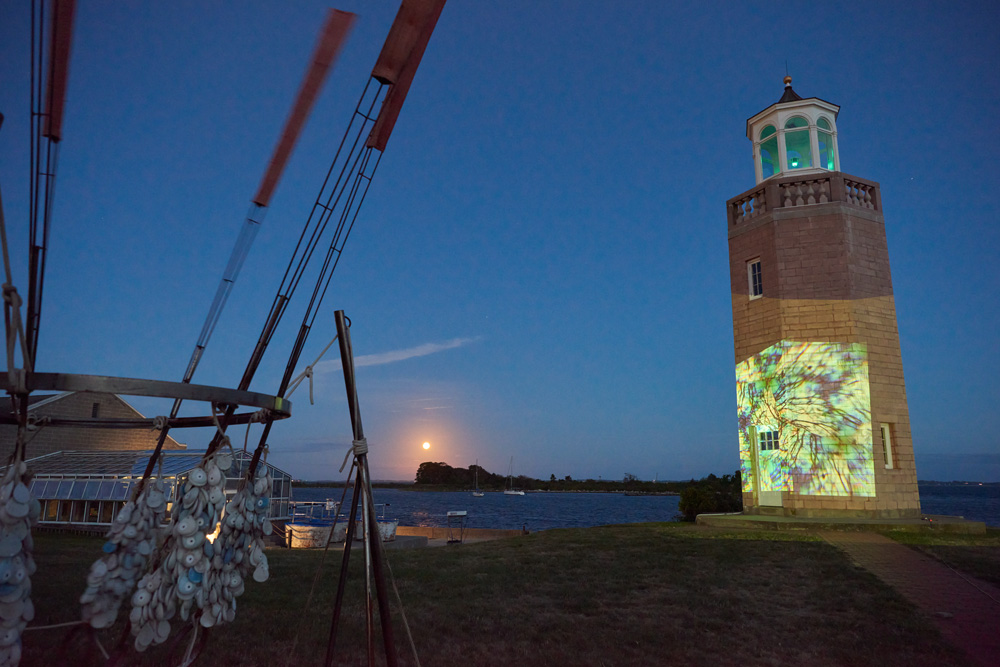 Videos by Benthaus Studios projected onto the Avery Point Lightouse on Sept. 1, 2020 as part of the Open Air by Night art exhibition.