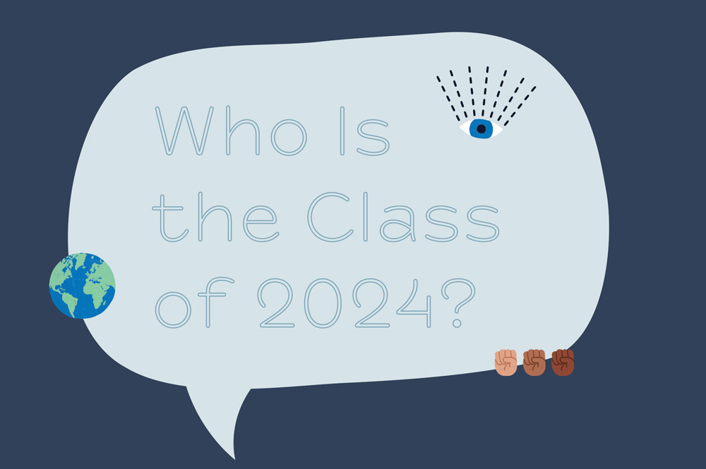 """Illustration with a speech bubble that says """"Who is the Class of 2024?"""""""