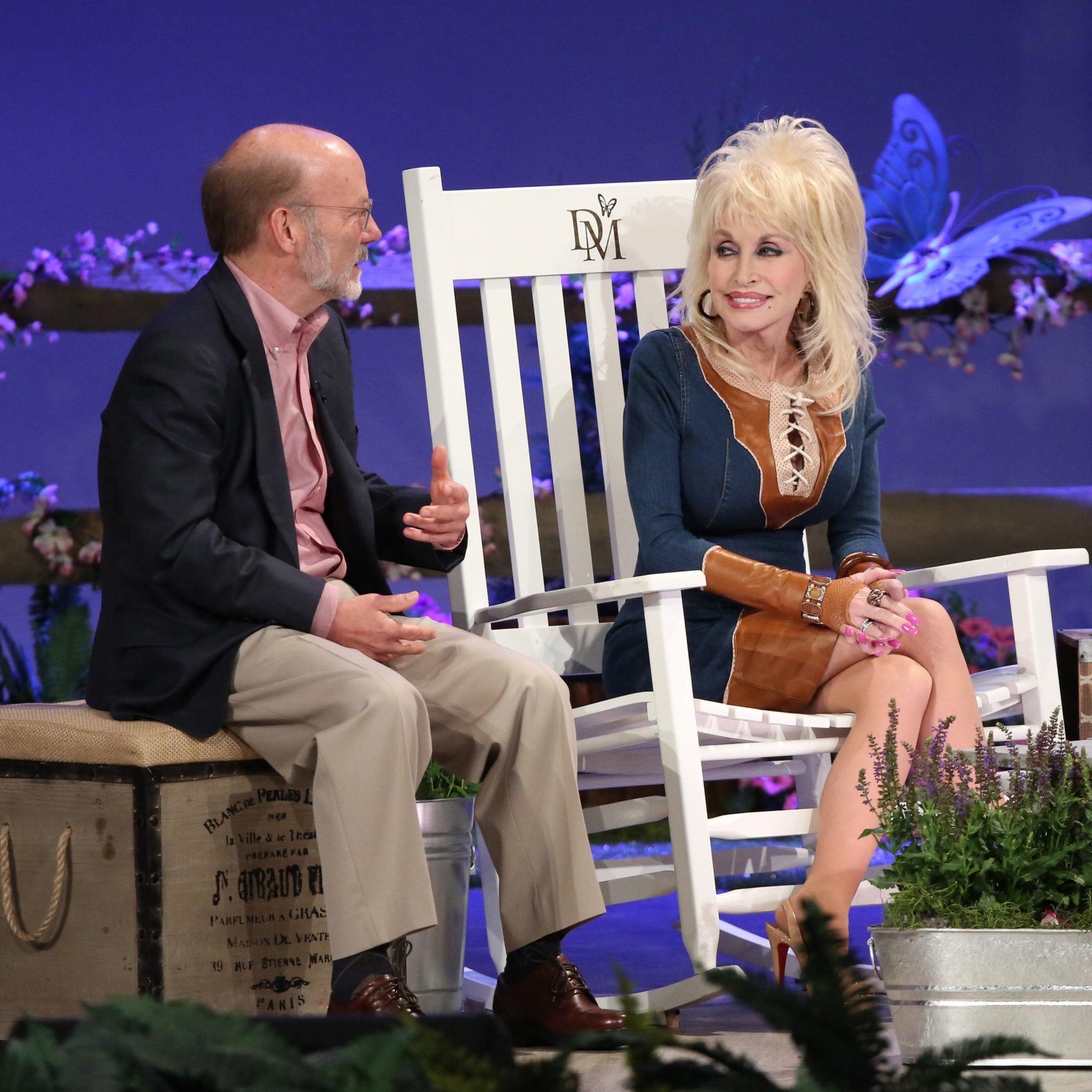 Dolly Parton sits with David Dotson