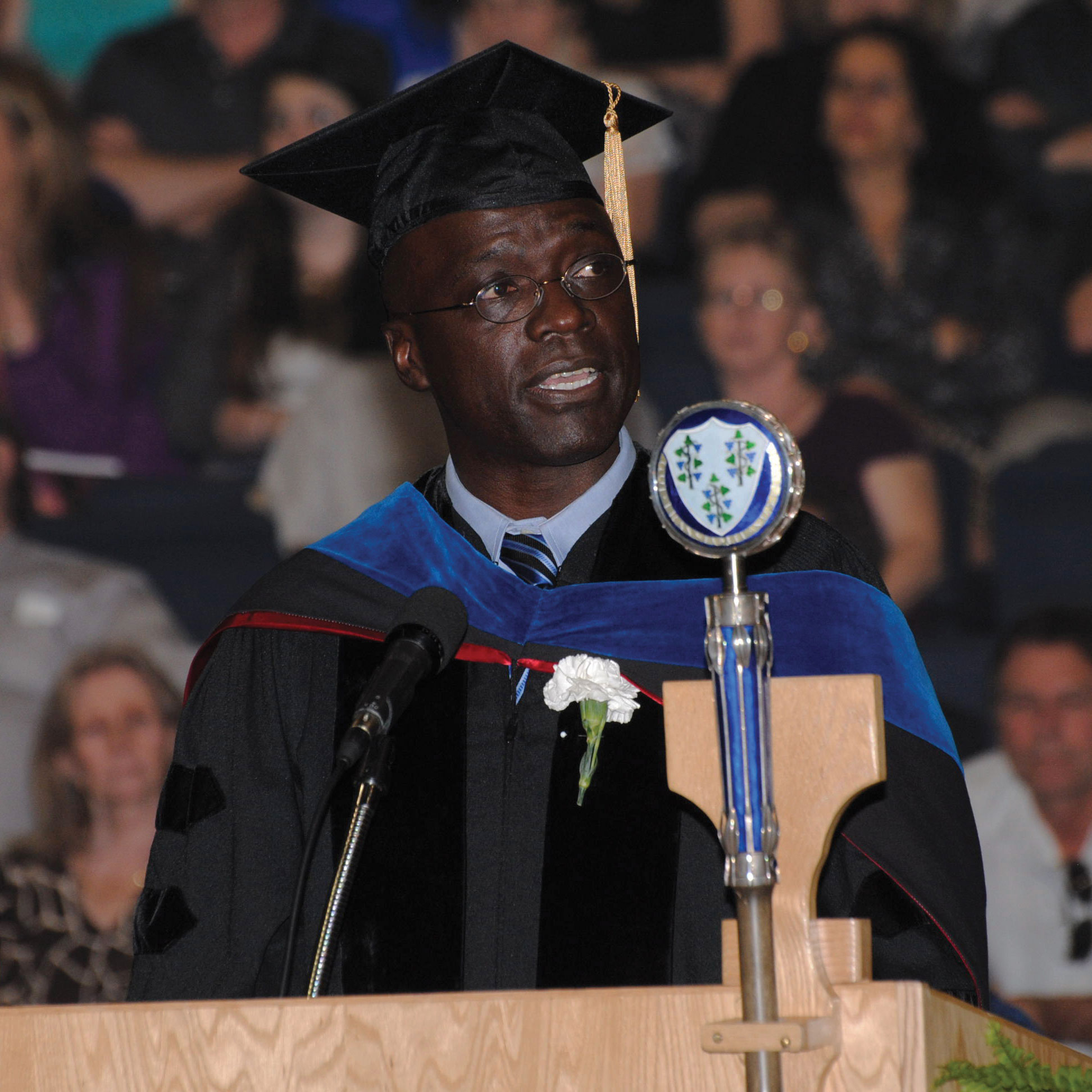 """During his 2014 commencement address at the College of Agriculture, Health and Natural Resources, Omamo shared three hopes with, and made three asks of, the graduates, including that they plant something to harvest every year. Doing so, he said, """"connects you to the world in a way that is truly unique and soul-enriching."""""""