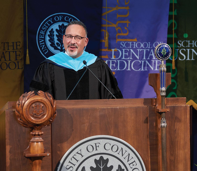 U.S. Secretary of Education Miguel Cardona at commencement address