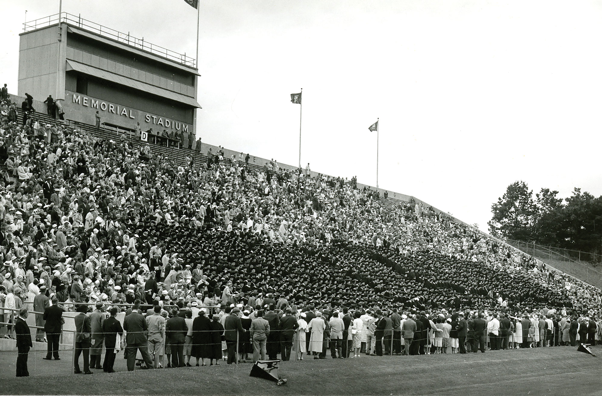 In the early sixties during the Homer Babbidge administration, commencement was held in Memorial Stadium in Storrs
