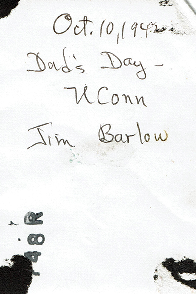 back of photo with writing, Oct. 10, 1946, Dad's Day - UConn, Jim Barlow