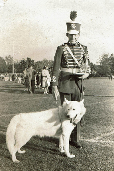 Photo of James Barlow, who graduated from UConn in the late 1940s, in the marching band with Jonathan II